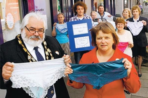 The Advertiser Series: KNICKER APPEAL: Shildon Mayor Gareth Howe and, right, Jenette Sisson of the Co-operative Funeralcare