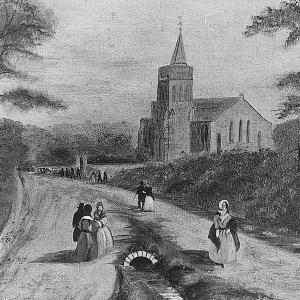 TRANQUIL SCENE: An 1859 view of Woodland Road, looking to Holy Trinity Church. Woodlands is up the steps to the right. Today's front cover shows the same spot in the Edwardian era, with a tram advertising the Echo centre stage