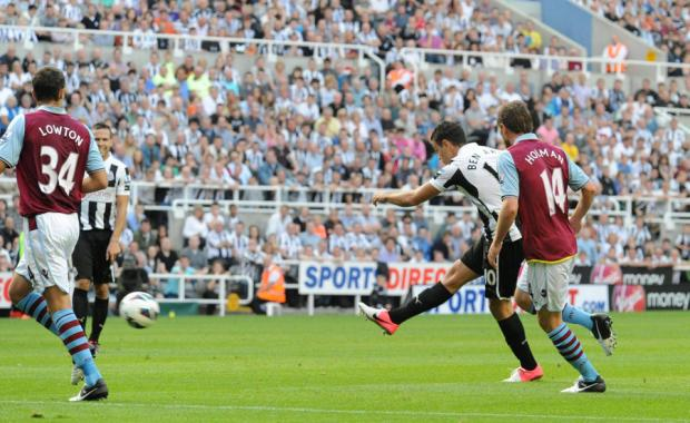 WONDER GOAL: Hatem Ben Arfa fires Newcastle United level against visitors Aston Villa yesterday