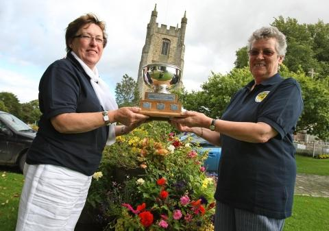 Sedgefield won an award in the Northumbria in Bloom contest. Pictured with their trophy are Norma Neal (right) and Rosemary Burnip.