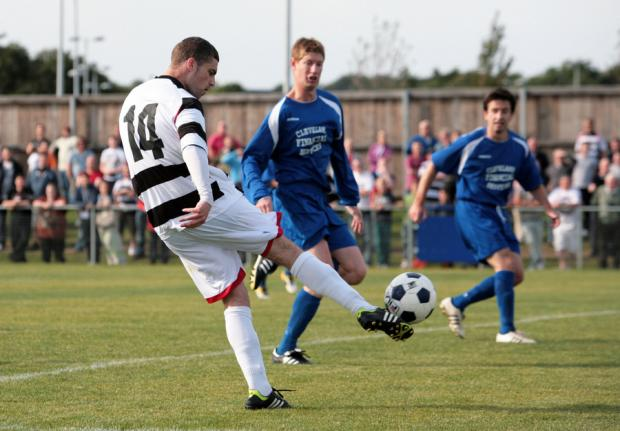 LEVELLER: Darlington's Shaun Reay scores a first half equaliser against Billingham Town