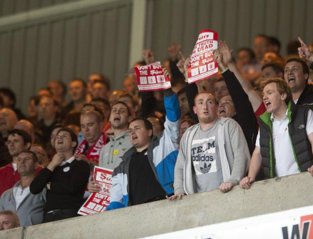 DON'T BUY THE SUN: That's the advice of Liverpool supporters at the Stadium of Light on Saturday