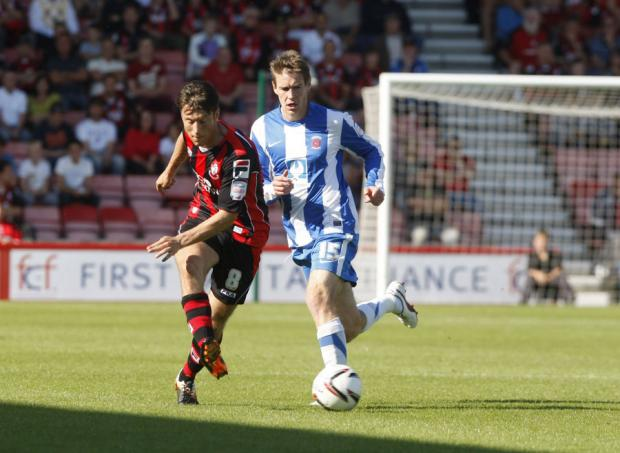 BACKWARDS: Hartlepool were nowhere near as good as their away trip to Bournemouth, where Anthony Sweeney featured