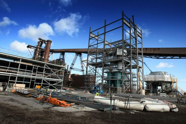 UNDER WAY: The PCI (pulverised coal injection) plant under construction next to the SSI blast furnace, in Redcar