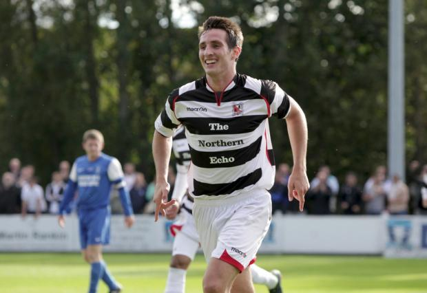 IN THE LEAD: Joe Tait shows his delight at putting Darlington 1-0 up at Dunston