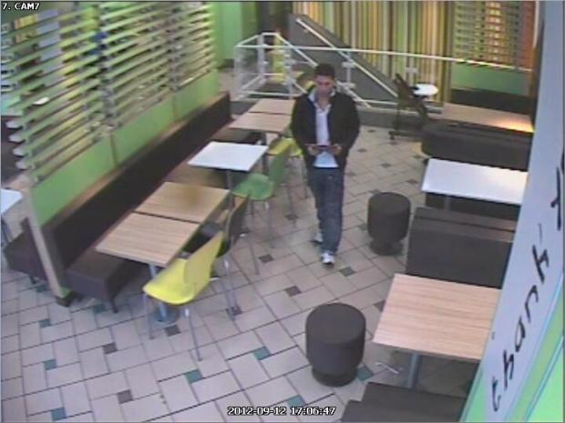 CCTV footage of the man police want to speak to about the alleged phone theft