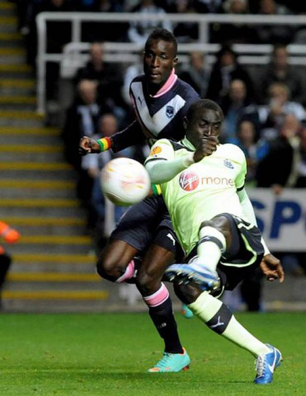 The Advertiser Series: WONDERFUL DEXTERITY: Cisse hooks home Newcastle's goal to complete the comprehensive win