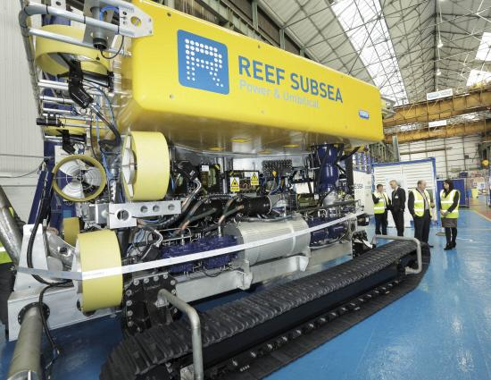 LIFE AQUATIC: Staff at Reef Subsea showed off a new trenching vehicle to about 60 industry clients yesterday