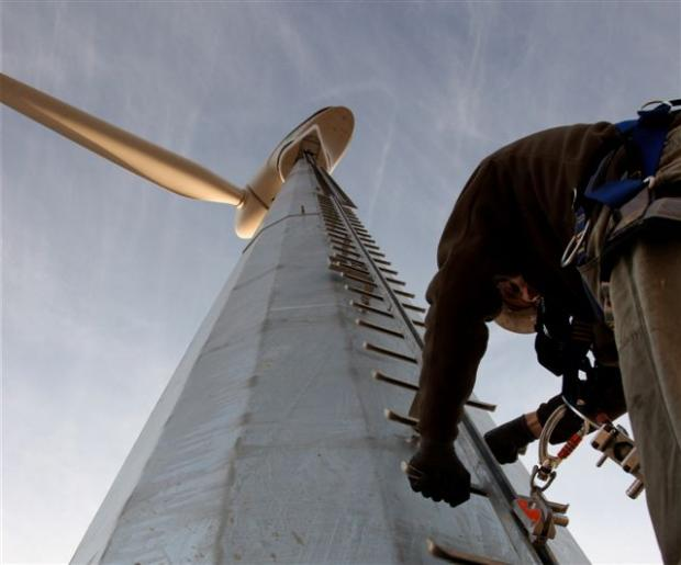 TURBINE SUCCESS: Staff at Ice Renewables get to work.