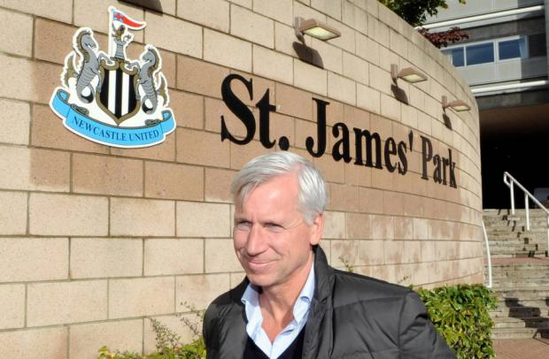 As you were: Alan Pardew at St James' Park yesterday as it regained its old name