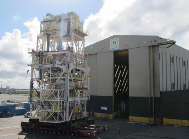 Job done: The completed BP's Andrew process module at the Heerema yard