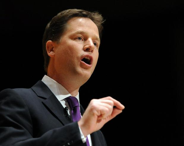DEPUTY PRIME MINISTER: Nick Clegg delivers his speech during the Liberal Democrat Spring Conference at The Sage, Gateshead.
