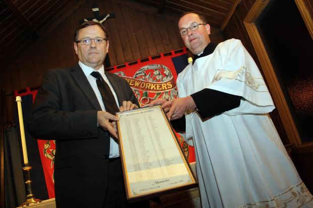 Phil Wilson MP with Reverend Michael Gobbett at the dedication service at St Catherine's Church in Fishburn