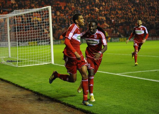 ONE-UP: Middlesbrough midfielder Faris Haroun celebrates with Marvin Emnes after the Belgian opened the scoring for Boro
