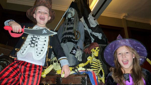 Katie Reese, 11, and little brother Thomas, six, get ready for an invasion of Ghost Pirates at Darlington's Head of Steam Museum.