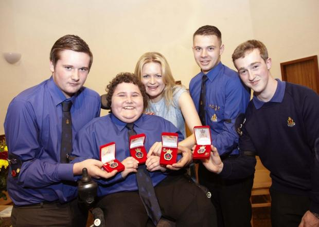 Jack Rowell, Daniel Miller , Chris Winn and Andrew Berston with Hannah Bayman.