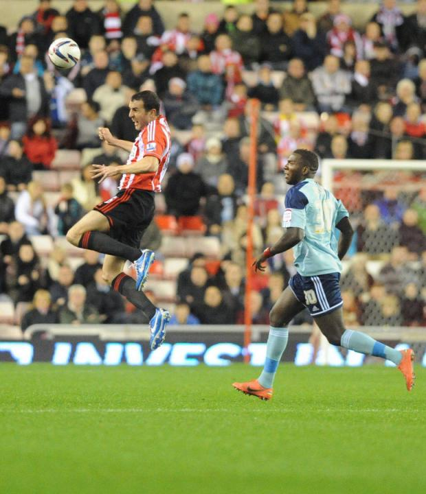 MUST DO BETTER: Sunderland's John O'Shea rises highest during Tuesday's defeat to Middlesbrough at the Stadium of Light