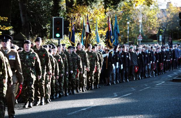 OUT IN FORCE: The Remembrance Day parade to Darlington war memorial from the town's Holy Trinity Church