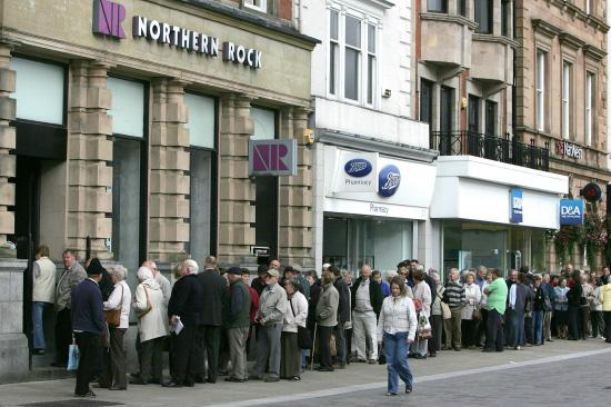 The Advertiser Series: Customers outside the Northern Rock branch on High Row in Darlington September 2007