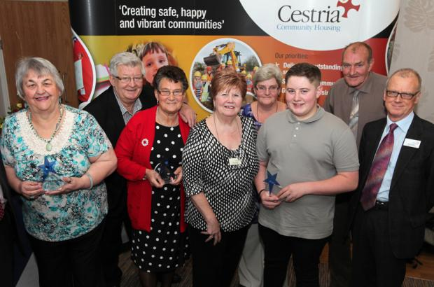 Neighbourhood Award winners with Cestria Community Housing chairman David Butler (right)