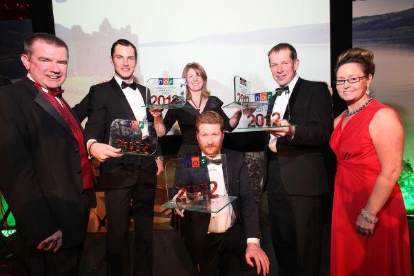AWARD WINNERS: Left to right George Rafferty, NOF Energy; James Watmore, Darchem Engineering; Alex Hayward, Phusion; Steven Bedford, OSBIT Power. Front, Pierre Boyde, DeepOcean.