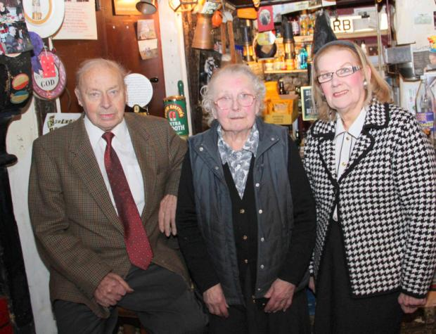 The Advertiser Series: MEETING: Ralph Daykin, Pat Daykin and Avril Douglas in the bar at the Victoria Arms at Worton