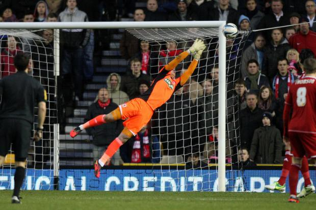DESPAIRING DIVE: Jason Steele is unable to get to Jeff Hendrick's strike which flies into the top corner as Boro lost 3-1