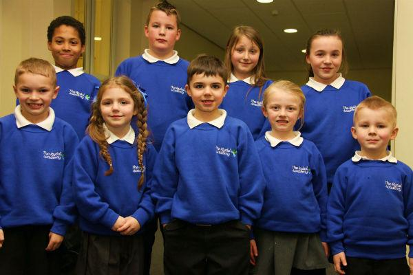 The Advertiser Series: The Rydal Academy pupils and their new uniforms L-R,  front row, Dylon Jenkinson, seven, Nevaeh Duffy, four, Alfie Leach, six, Lily-May Metcalfe, five, and Braith Taylor, back, Jair Leconte, Jack Raine, Demmi-Lea Purdie and Reenie Smith, all aged ten