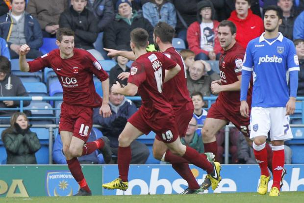 TWO IN TWO: Jack Baldwin races away to celebrate putting Pools in front – his second goal of his career, both within the last week