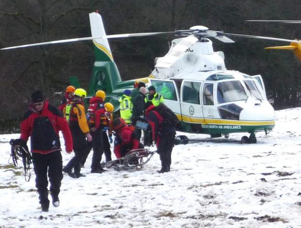 EMERGENCY RESPONSE: Emergency workers at the River Swale at Reeth yesterday, where a canoeist got into difficulties and later died