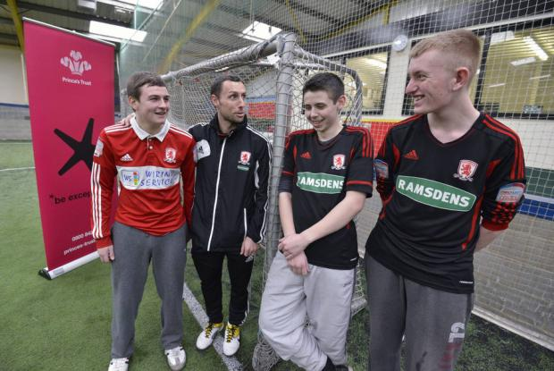 TOP SCORER: Boro striker Scott McDonald checks on the progress of students undertaking the Prince's Trust Sports Leaders Award Courses