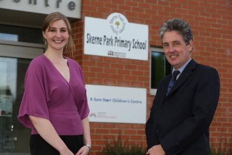 Principal of Hummersknott Academy Pat Howarth with Kate Chisholm, principal of Skerne Park Primary school