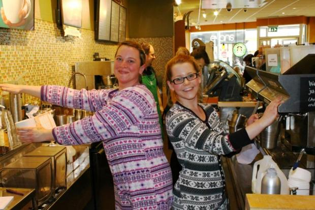 Starbucks Darlington staff get ready for Onesie Day