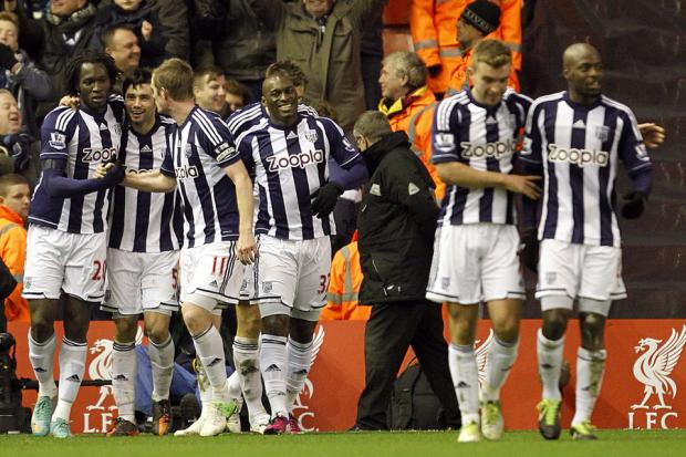 West Brom last night earned a surprise 2-0 win at Liverpool, stealing the points with two late goals from Gareth McAuley (81) and Romelu Lukaku (90) on a night when home skipper Steven Gerrard also missed a penalty