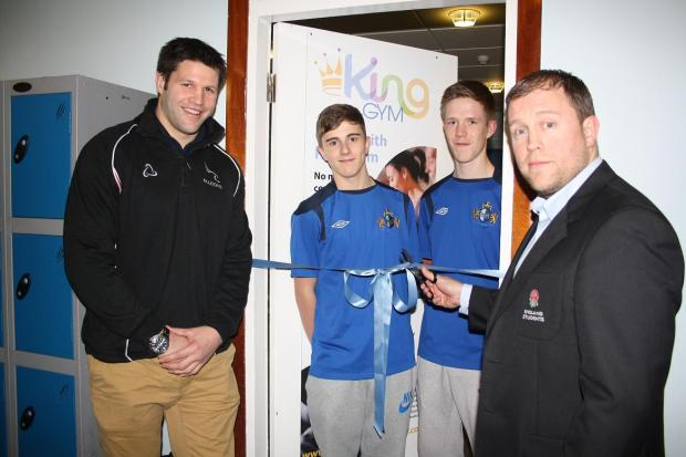 The Advertiser Series: Cutting the ribbon: (L to R) Ali Hogg of Newcastle Falcons, Tyler Louth and David Gill of Bishop Auckland FC Under 18's and Steven Colwell, ex-pupil and England students rugby manager
