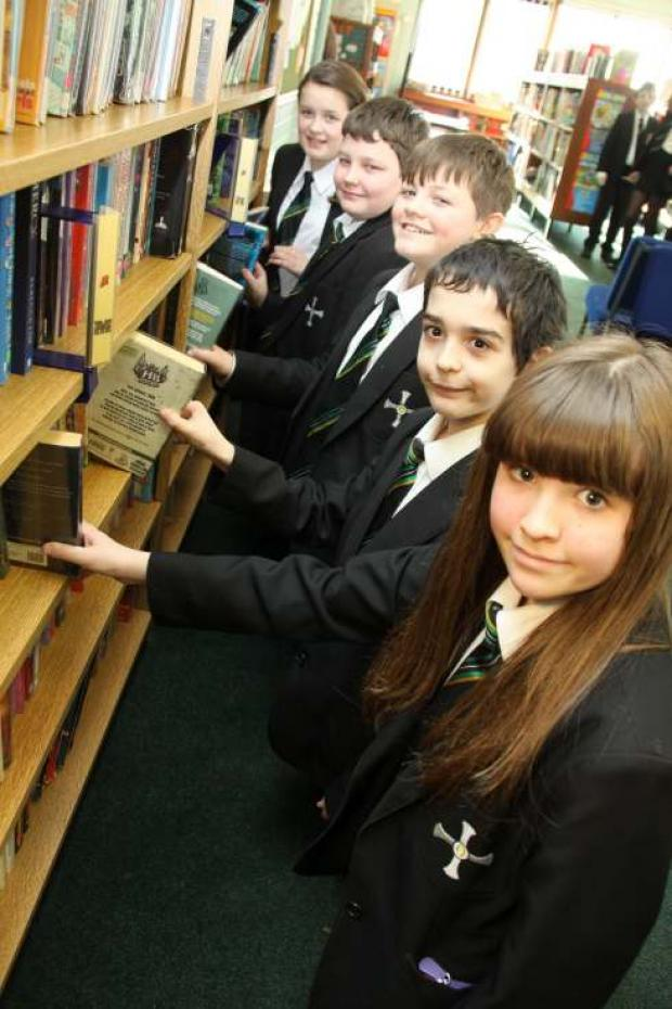 Budding bookworms, students from the Allertonshire School enjoying their reading, front to back, Olivia Wilkinson, 12, Alex Cook, Ben Blythe, Charlie Boocock and Claire Meeks, all 11