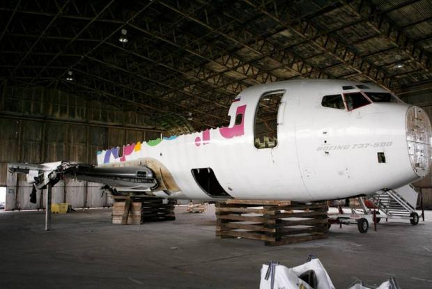 The Advertiser Series: BREAK TIME: A Boeing 737-500 being dismantled at Durham Tees Valley Airport