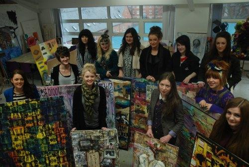 ART ATTACK: Students from QE Sixth Form College with some of the art work they have produced as part of their collaborative project with Westbrook Villas Residents Association and the Head of Steam Railway Museum.