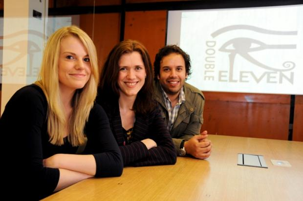 Pictured from left to right are Kirsten Cummins, Double Eleven marketing associate, Joanne Noble, organiser of ExpoTees and Mark South, Double Eleven chief of operations.