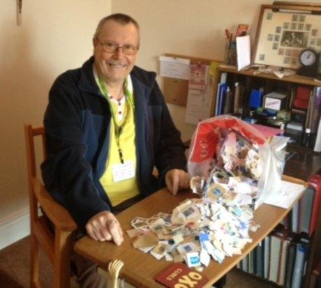 STAMP DUTY: Peter Longstaff makes a start on his stamp collection at Ventress Hall, in Darlington