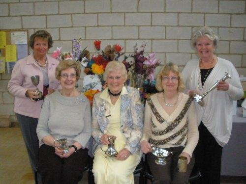 CLUB AWARDS: Val Curry, Rita Whitehouse, Jane Currie, Julia Atkinson and Marsha Hillary with their flower club awards.