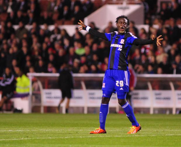 The Advertiser Series: BACK IN THE SIDE: Middlesbrough striker Kei Kamara is expected to return to the starting line-up against Charlton on Saturday