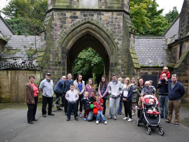 The Advertiser Series: Councillor Anne-Marie Curry, far left, with supporters of the campaign to save the North Cemetery chapel