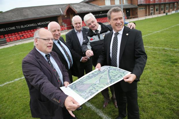 The Advertiser Series: MAKING PLANS: From left Tony Stowe, from Darlington Rugby Club, Peter Griffin, director of facilities for rugby club, John Tempest, from Darlington CIC, Michael Wilkinson, chairman of the rugby club, and Martin Jesper, director of Darlington FC.