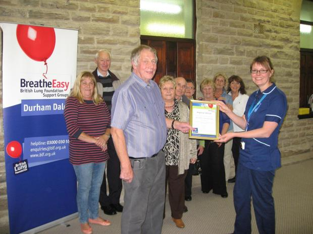 The Advertiser Series: LUNG CHARITY: Harry Brown receives an award at a previous meeting of the Breathe Easy Durham Dales