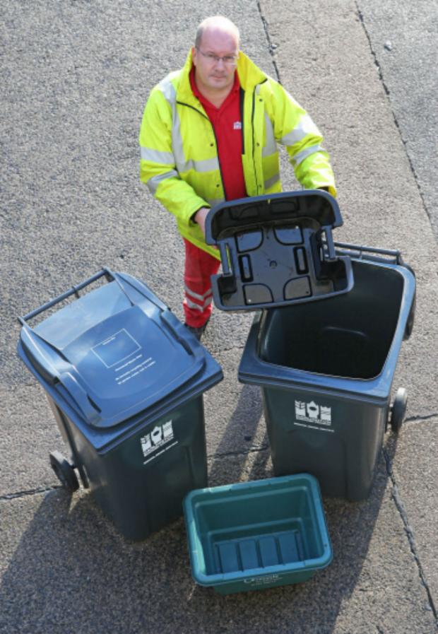 The Advertiser Series: Street Scene team leader Dave Hutchinson with the proposed collection pack for Darlington households; wheelie bin on left for general rubbish, small green box for glass, smaller wheelie bin with inset box for plastics, paper etc