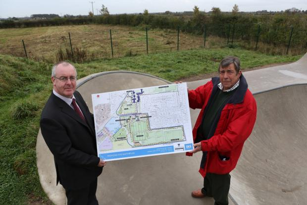 The Advertiser Series: DEVELOPMENT PLANS: Councillor Mark Robson, leader of Hambleton District Council, left, and Sowerby Parish Council chairman Councillor Bill Austin examine pl