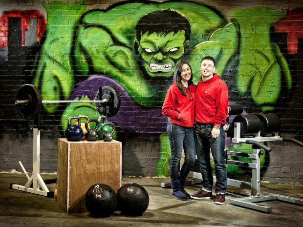 The Advertiser Series: Vikki and Terry Anderson at CrossFit All Out, their new fitness venture in Newton Aycliffe. Graffiti art by Dan Walls and Oxo. Photo by Eye Dream Photography