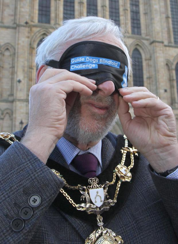 The Advertiser Series: The Mayor of Ripon, Coun Mick Stanley undertaking a blindfold walk