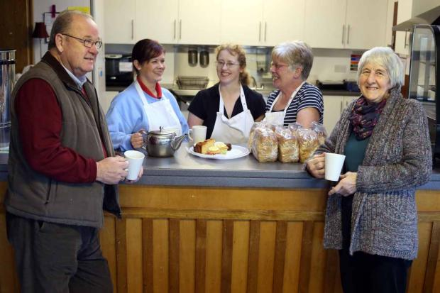 The Advertiser Series: New community cafe: Coun Brian Jones (hall vice chair) Lissa Coates who works in the cafe, hall treasurer Janice Burrows, cafe worker Jean McKinnon and chair of the hall, Joan Vickers.